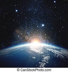 alba, sopra, il, earth., elementi, di, questo, immagine, ammobiliato, vicino, nasa