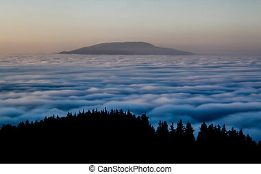 alba, sopra, il, montagne