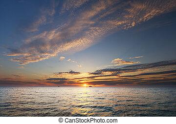 alba, sopra, ocean.