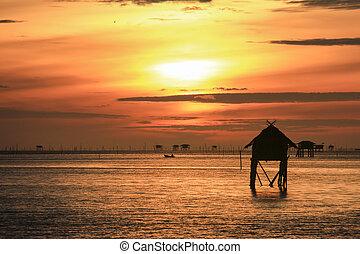 alba, spiaggia, con, bello, cielo