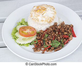 albahaca, alimento tailandés, cerdo