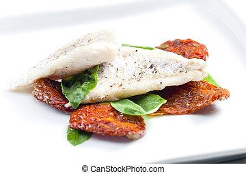 albahaca, bacalao, tomates, secado