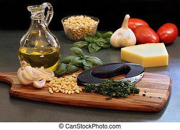 albahaca, marca, ingredientes, cortado, pesto.
