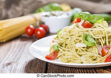 albahaca, pesto, espaguetis