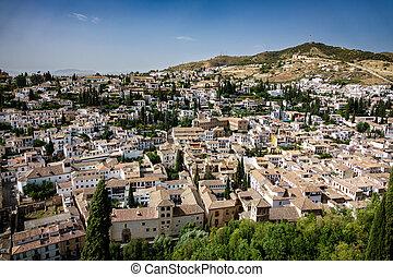 Albaicin of Granada top view, Spain