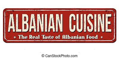 albanês, cozinha, vindima, metal enferrujado, sinal