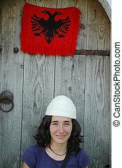 albanais, chapeau, girl