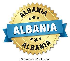 albanië, ronde, gouden, badge, met, blauw lint
