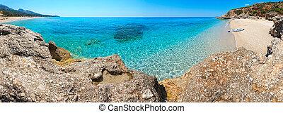 albania., 海滩, 全景, drymades
