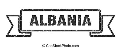 ALBANIA - Albania ribbon. Black Albania grunge band sign