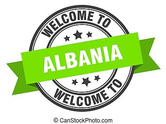 ALBANIA - Albania stamp. welcome to Albania green sign