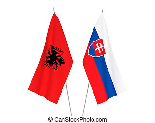 Albania and Slovakia flags - National fabric flags of ...