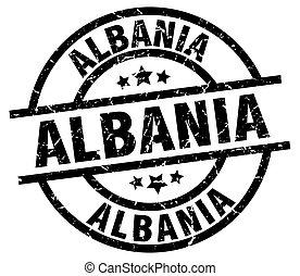 Albania black round grunge stamp