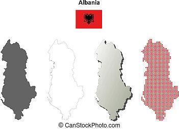 Albania blank outline map set