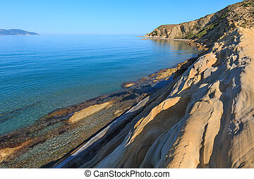 Albania, brzeg, morze, rano