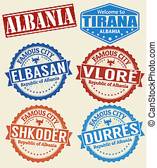 Albania cities stamps set - Set of grunge rubber stamps with...