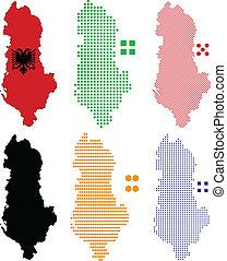 Albania - Vector illustration pixel map of Albania.