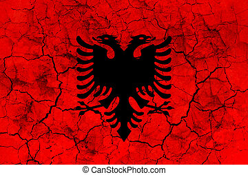 albania country flag painted on a cracked grungy wall