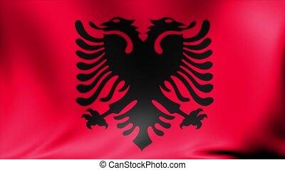Albania Flag. Background Seamless Looping Animation.