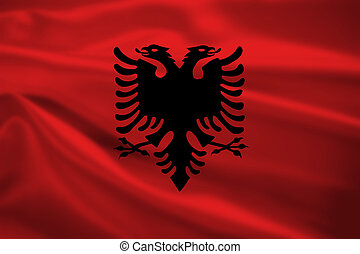 Albania flag blowing in the wind