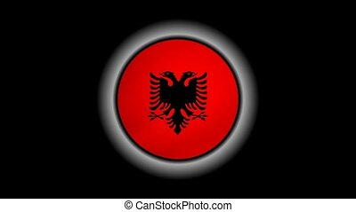 Albania flag button isolated on black