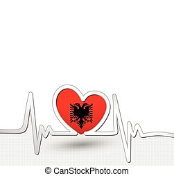 Albania flag heart and heartbeat line