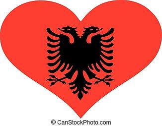 Albania flag heart
