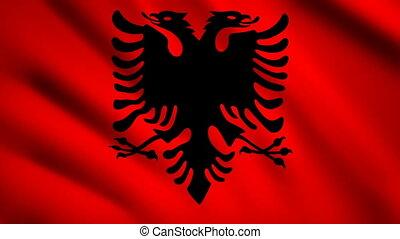 Albania flag Motion video waving in wind. Flag Closeup 1080p HD footage