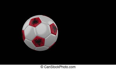 Albania flag on flying soccer ball on transparent background, alpha channel