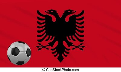 Albania flag waving and football rotates, loop