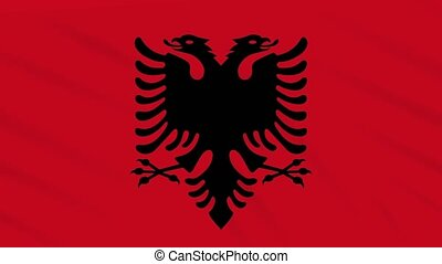 Albania flag waving cloth background, loop