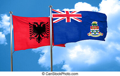 Albania flag with Cayman islands flag, 3D rendering