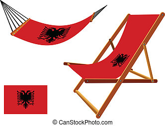 albania hammock and deck chair set against white background,...