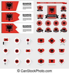 albania independence day, infographic, and label Set.