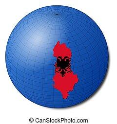 Albania map flag on abstract globe illustration