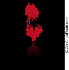 Albania map flag with reflection illustration