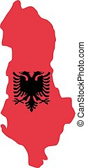Albania map with flag