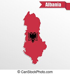 Albania map with flag inside and ribbon