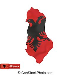 Albania map with waving flag of Albania.