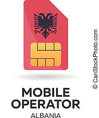 Albania mobile operator. SIM card with flag. Vector illustration.