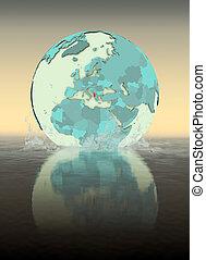 Albania on globe splashing in water
