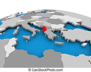Albania on political globe