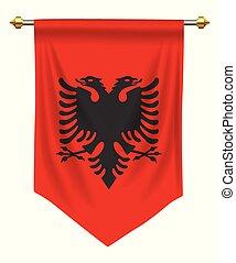 Albania Pennant - Albania flag or pennant isolated on white