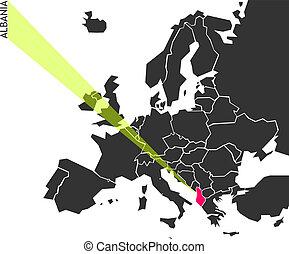 albania, -, político, mapa, de, europa