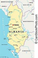 Albania Political Map with capital Tirana, national borders,...