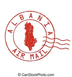 Albania post office, air mail stamp