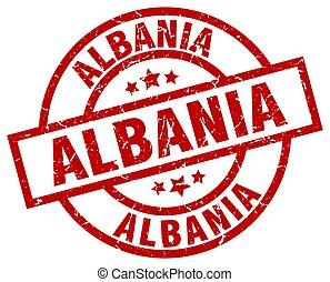 Albania red round grunge stamp