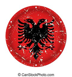 Albania - round metal scratched flag, screw holes