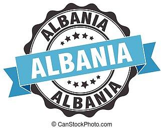 Albania round ribbon seal