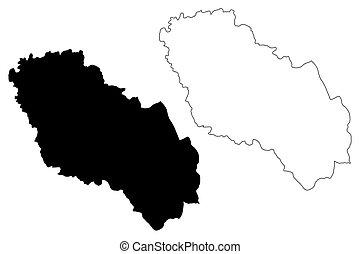albania), skiss, karta, grevskap, klottra, vektor, berat, (...